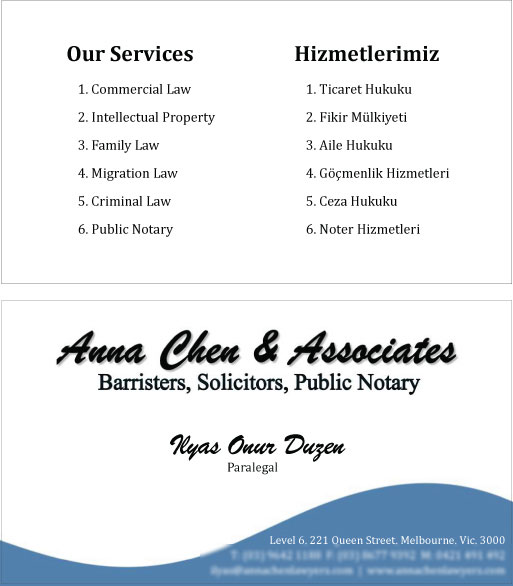 Anna Chen Business Cards Print By SH Designsz