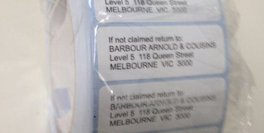 Barbour Arnold Cousins Label Roll Stickers