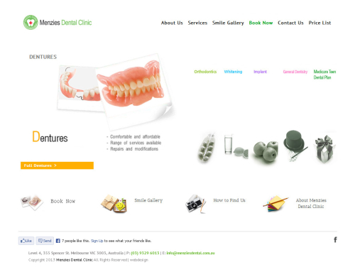 Menzies Dental Clinic Website Design