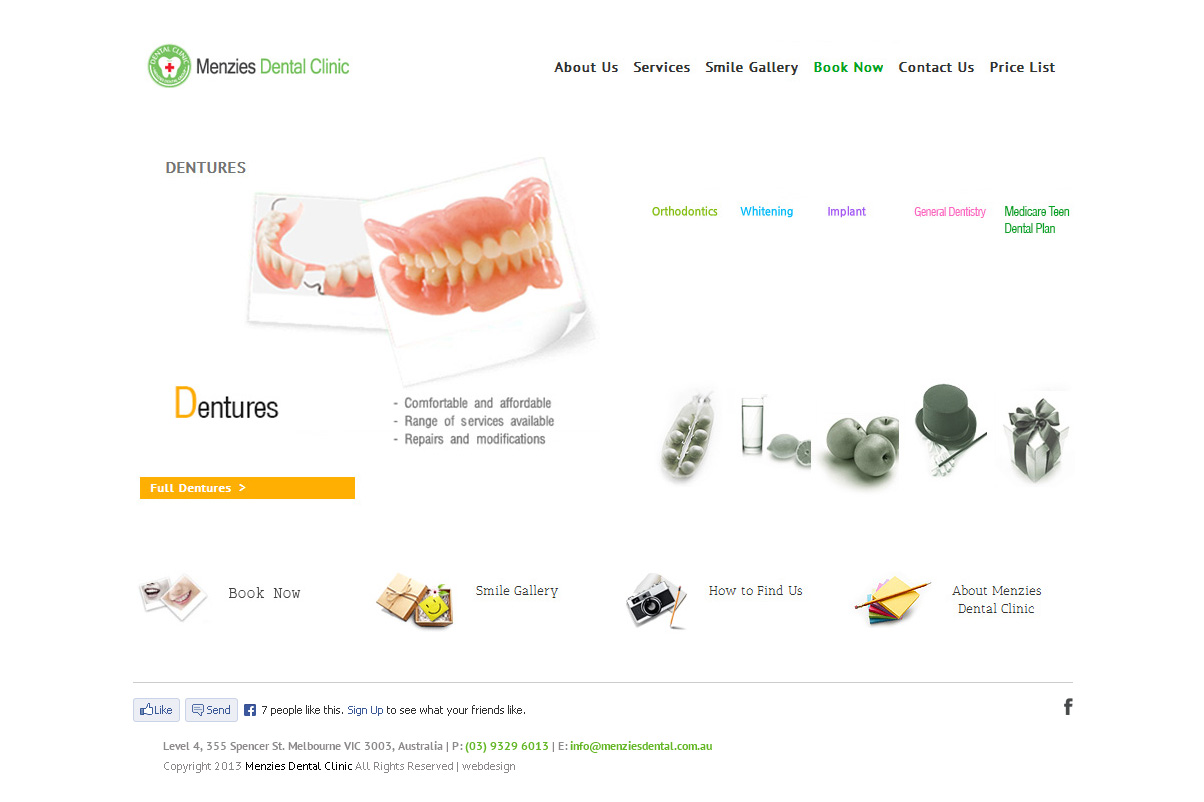 Menzies Dental Clinic Website Design By SH Designs