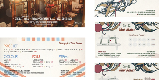 Sunny Ave Hair Salon Price List & Coupons designed by SH Designs