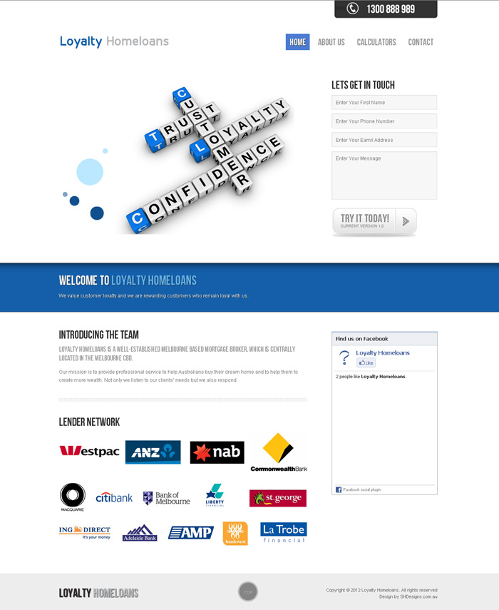 Loyalty Homeloans Website designed by SH Designs