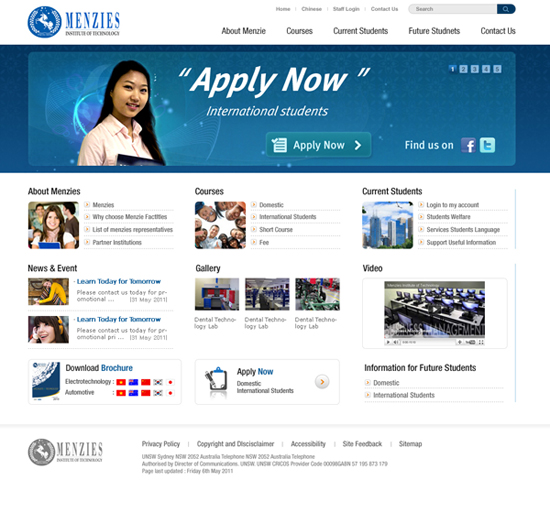 Menzies Institute of Technology Website designed by SH Designs