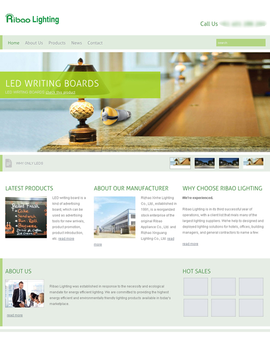Ribao Lighting Website designed by SH Designs