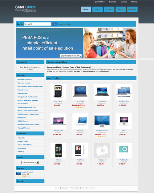 Satel Global E-Commerce Website designed by SH Designs