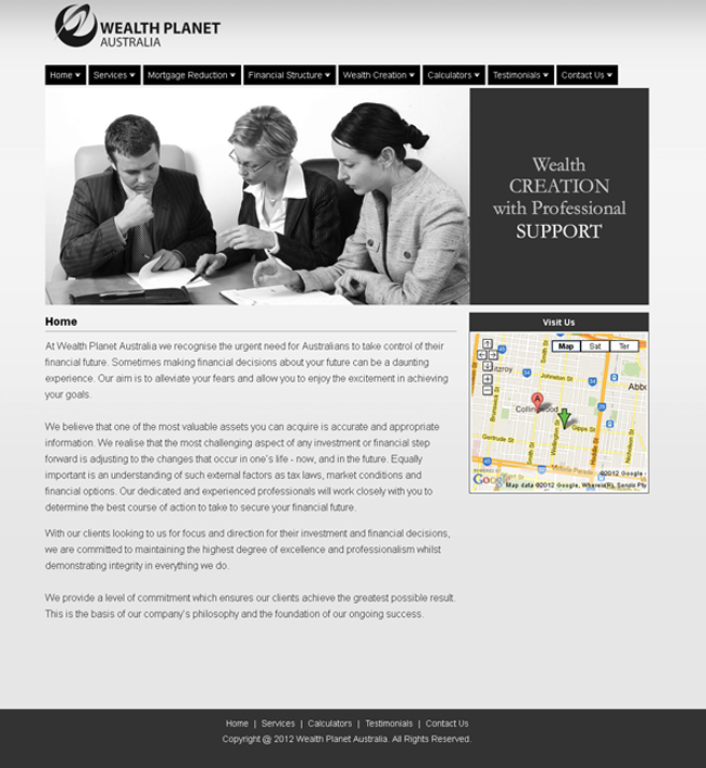 Wealth Planet Australia Website designed by SH Designs