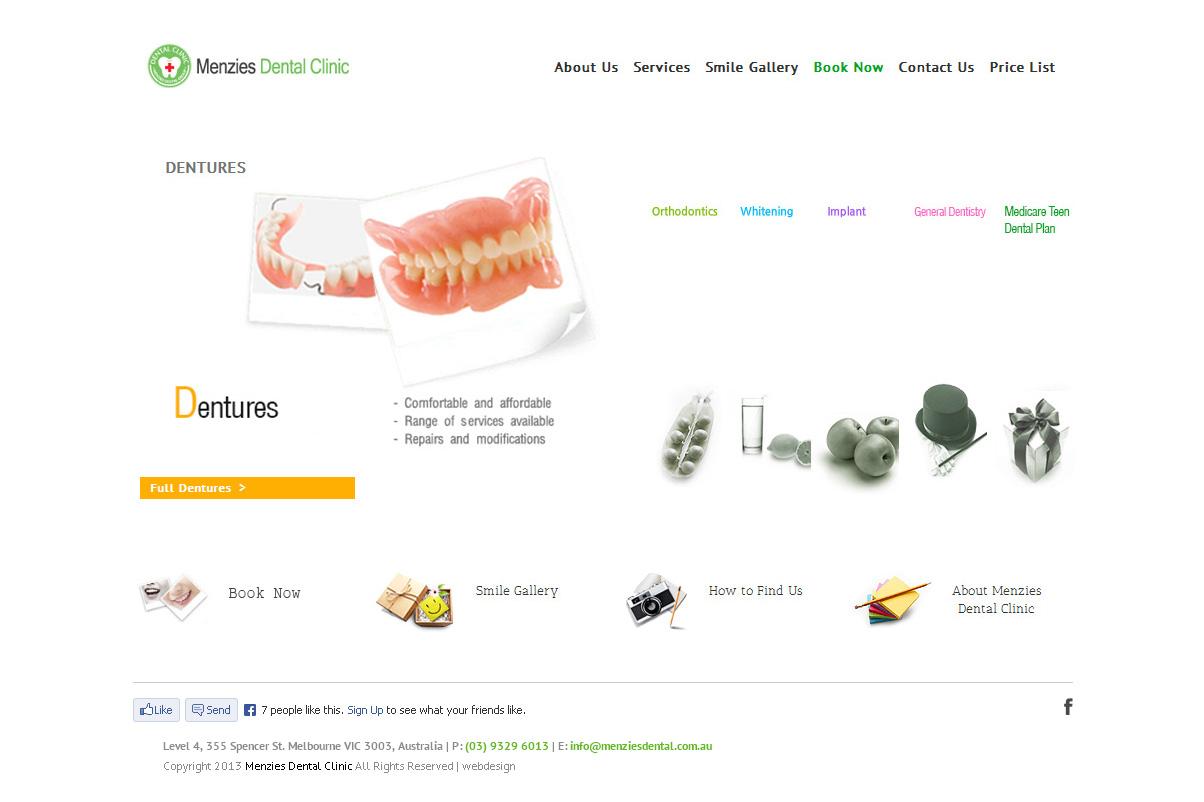 Menzies Dental Clinic Website Design By SH Designs